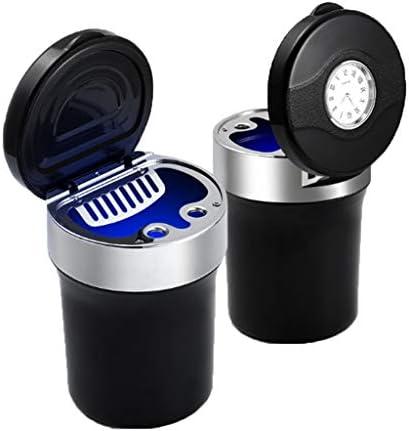カバーが付いているLED車の灰皿腕時計が付いている携帯用多機能の灰皿丨カップホルダー-7.5 * 11.5cm (Color : Silver)