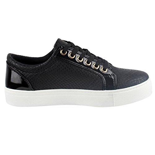 napoli-fashion Damen Sneakers Low Lack Freizeit Schuhe Turnschuhe Kroko Jennika Schwarz