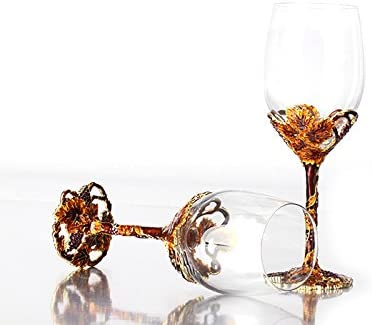 Set of 2 Bestbling Pewter Decorative Crystal Wine Glass Enamel Fancy Wine Glass for Household Decoration