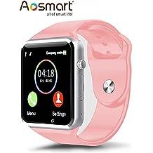 Aosmart Bluetooth Touch Screen Smart Wrist Watch Phone with Camera - Pink