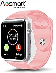 Aosmart Bluetooth Touch Screen Smart Wrist Watch Phone With Camera - Pink