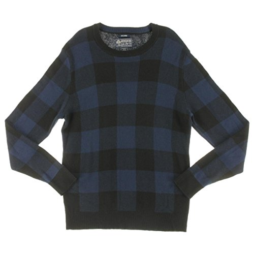 (American Rag Mens Block Check Ribbed Trim Crewneck Sweater Blue L)