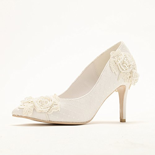 Prom Dinner VIVIOO Handmade Bride Pearl Wedding Shoes Embroidery ' White Party S Heel Heeled Lace Women Shoes 6 Sandals High Light Thin Dress qdSd6xwFg