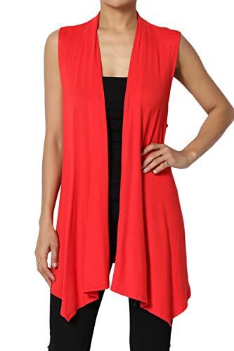 TheMogan Women's Sleeveless Waterfall Jersey Cardigan Asymmetric Vest Red 3XL