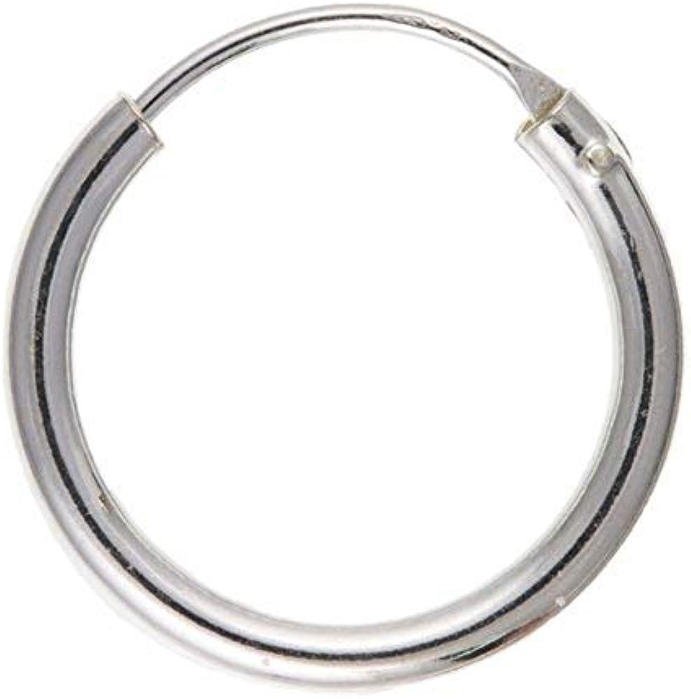 Pendientes de aro de plata de ley, de 16 mm. Para hombre ...