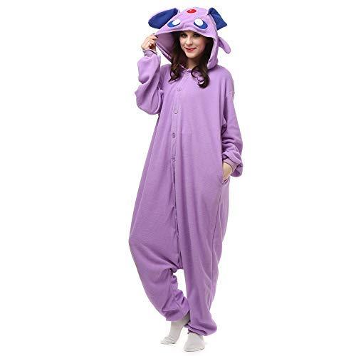 Amazing Cosplay Unisex Animal Costume Espeon Onesie Pajamas Adorable Hooded for Women Men Purple XL -
