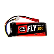 Venom Fly 30C 3S 800mAh 11.1V LiPo Battery with JST Plug for RC Airplane and Helicopter