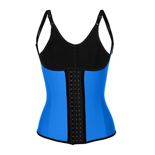 """Ekouaer Women Latex Steel Boned Waist Training Underbust Corset Vest Body Shaper (3XL size for Waist 33""""-35"""", Blue)"""