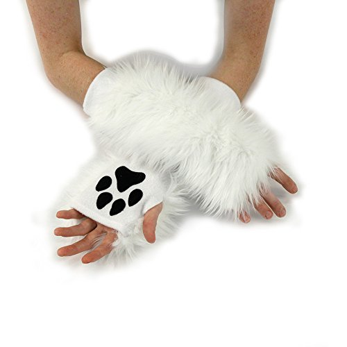 Pawstar Classic Paw Warmers Fingerless Glove Paws Furry Cat Fox Cosplay - Arctic ()