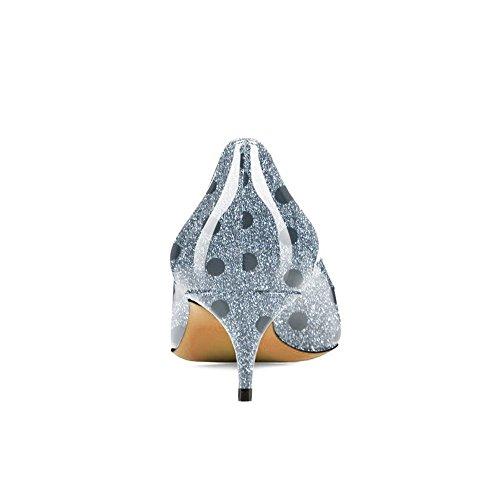 Imprevedibile Per Della Signora Donne Punta Blu Bassa Gattino Glitter Umexi Modo Pompe Abito Appuntita Tallone A Della 44xaFT