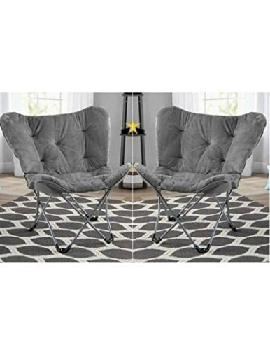Pack of 2 Grey Mainstay Butterfly Chair by Mainstay`