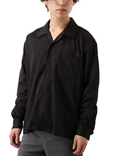 チーフ柔らかいバッジ[REPIDO (リピード)] オープンカラー ストレッチ サテン シャツ 開襟シャツ オープンカラーシャツ 長袖