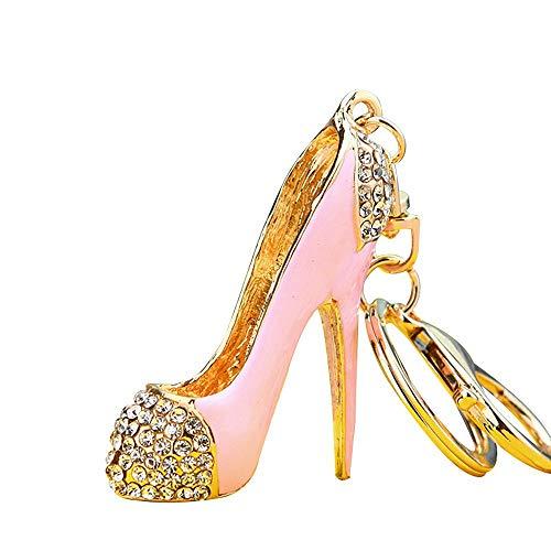 (JewelBeauty Lady Gift Rhinestone Enamel Stiletto High Heel Shoe Crystal Keychain Keyring Women Handbag Car Pendant Accessories (Pink))