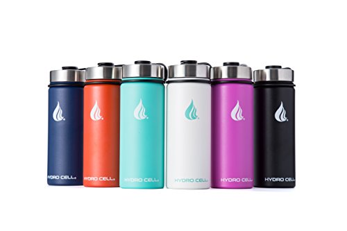 HYDRO CELL Stainless Steel Water Bottle with Straw & Wide Mouth Lids (32oz or 22oz) - Keeps Liquids Perfectly Hot or Cold with Double Wall Vacuum Insulated Sweat Proof Sport Design (Mandarin 18 oz)