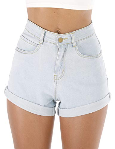 Vintage Wash Denim - Haola Women's Juniors Vintage Denim High Waisted Folded Hem Jeans Shorts Light Blue1 L