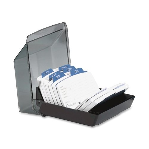 Wholesale CASE of 10 - Rolodex 9-Divider Covered Petite Card Files-Card File w/Cover, 250-Card Cap, 5-3/7''x6-7/8''x3-7/8'', Black by Rol