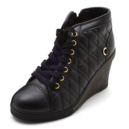 EpicStep Women's High Top Wedges High Heels Lace up Quilted Casual Fashion Sneakers Black 8 M US