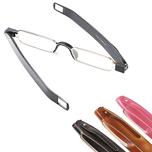 - TOPSTARONLINE Unisex Unique Design of Ultra-Light Folding Slim Mini Unbreakable TR90 Reading Glasses from +1.0 to +3.5 (+1.0, Black(Metal Frame))