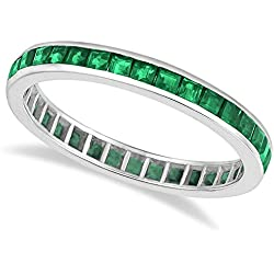 14k Gold Princess-Cut Emerald Eternity Ring Band