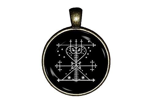 Maman Brigitte necklace Loa Veve Haitian Vodou Voodoo skulls spiritual crossroads Jewelry Pendant Charm - Crossroads Gift Shop