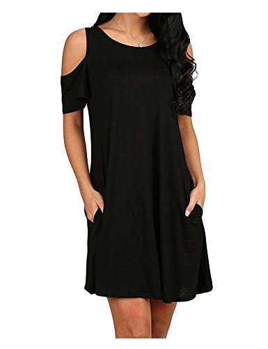 Shoulder Cold Legou s Mini Dress Tunic Women Cold Legou Women Black s wOxqAp10p