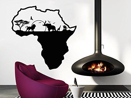 African Safari Wall Art (African Safari Wall Decal African Map Vinyl Stickers Animals Housewares Art Interior Nursery Bedroom Removable Home Decor C553)