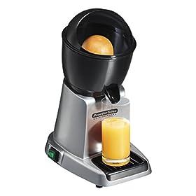 Proctor Silex Commercial 66900 Electric Citrus Juicer, 3 Reamer Sizes for Oranges, Lemons, Limes and Grapefruits, Removable Bowl, Strainer, Splashguard, Drip Tray, Black/Grey