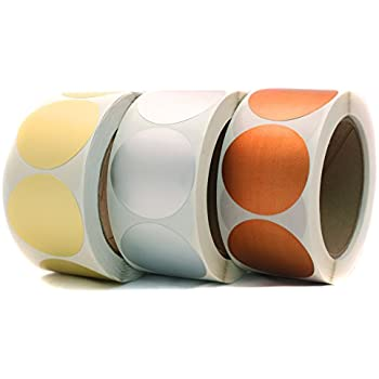 """2"""" Assorted Gold, Silver & Bronze Dot Stickers Variety Kit - 500 Shiny Metallic Labels per Roll (1,500 Foil Dots Total)"""