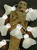 Holiday Lights 10 Miniature Bulbs with Ghost Covers for Halloween Lighting
