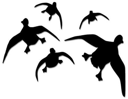 Ducks Geese Flying Hunting Vinyl Decal Sticker For Vehicle Car Truck Window Bumper Wall Decor - [6 inch/15 cm Wide] - Gloss WHITE Color