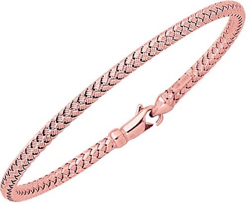 18,4cm 14K Or rose brillant rond Panier tressé Bracelet W/Fermoir mousqueton