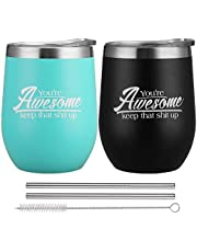 2 Pack Wine Tumbler with Lid, 12 oz Stainless Steel Stemless Wine Glasses, Double Wall Vacuum Insulated Travel Tumbler Cup for Coffee, Wine, Cocktails, Ice Cream Including 2 Straws