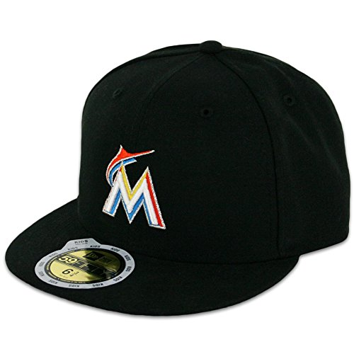 MLB Miami Marlins Home Youth AC On Field 59Fifty Fitted Cap, Black, 6 3/8