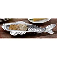 KINDWER Skinny Fish Olive and Cracker Tray, Silver