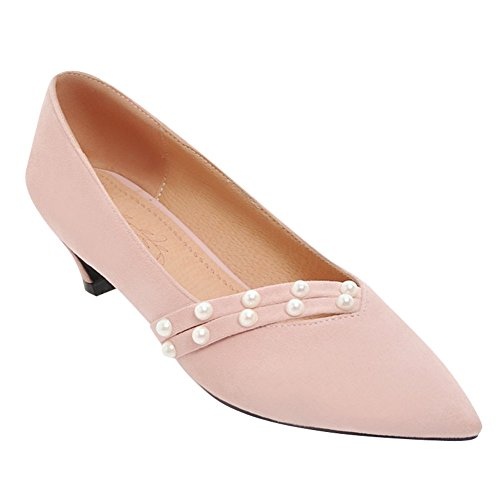 Charm Foot Womens Low Heel Pointed Toe Comfort Pumps Shoes Pink MUrQUUht