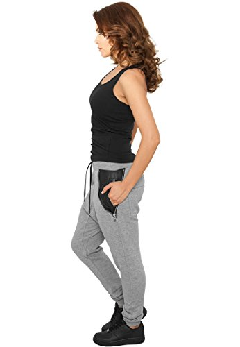 Urban Classics Ladies – TB801 Mujer Side Zip Leather Pocket Sweatpant Pantalones de fitness gris
