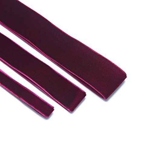 Velvet Ribbon Special Quality Stylish,Soft & Luxurious Bridal Wedding,French Velour Ruban, Nastro! Great Wholesale Price.33 Colours, 10,19,& 25mm - Wine-Claret-5mt-10mm