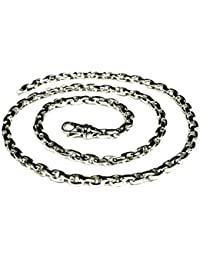 "14kt Solid White Gold Handmade ROLO Cable Link Chain/Necklace 22"" 60 grms 5.2MM"