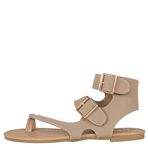 Bella Marie Womens Open Toe Thong Double Buckle Zip Cuff Flat Gladiator Sandal Flip Flops Taupe Tr8arZTy