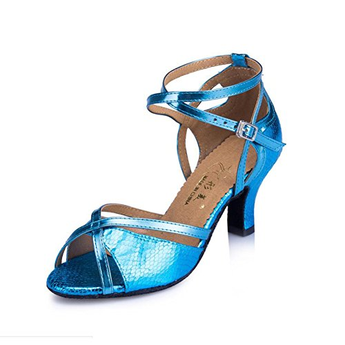 XUE Women's Latin Shoes Sparkling Glitter/Suede Sandal/Heel Indoor Sparkling Glitter Party & Evening Dance Shoes Gold, Light Blue, Red (Color : A, Size : 37) C