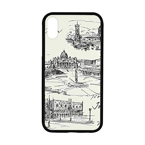 Sketchy Rubber Phone Case,Travel The World Themed Historical Italian Landmarks Venice Rome Florence Pisa Decorative Compatible with iPhone XR