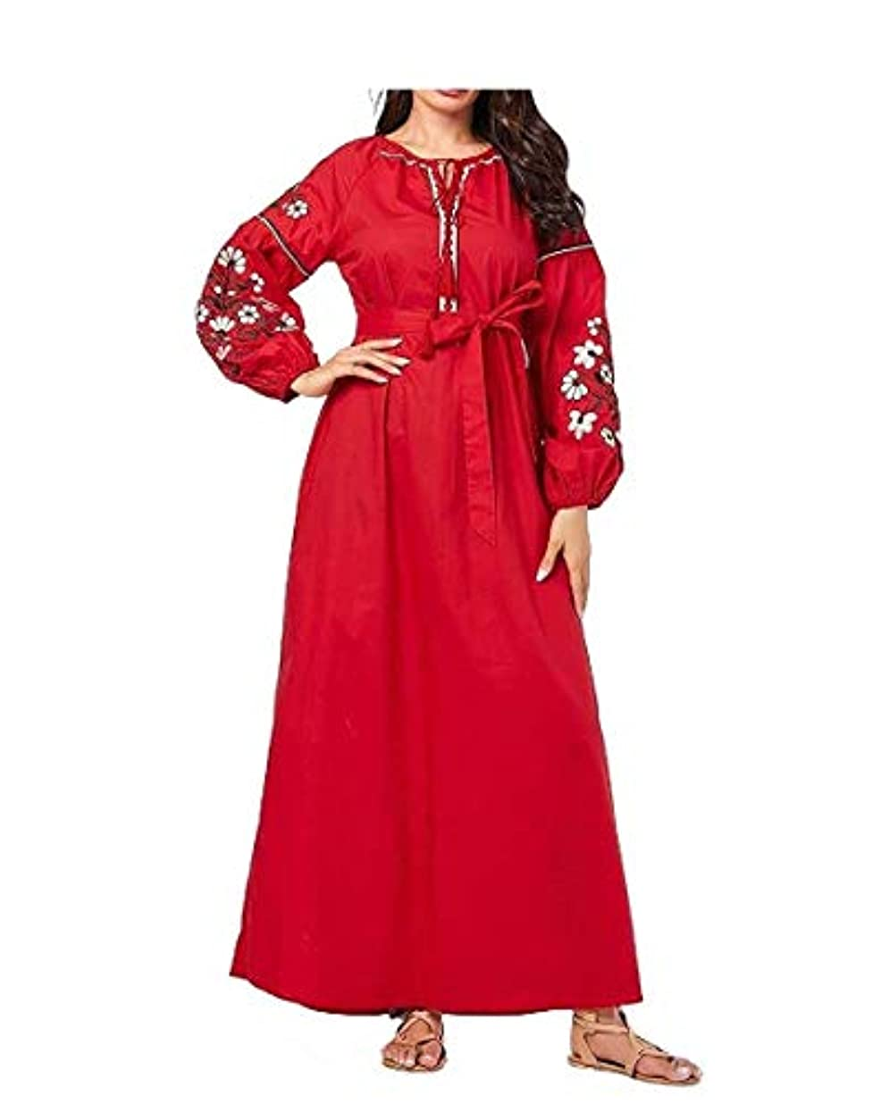 トランクライブラリ親愛な不十分Fly Year-JP 女性プラスサイズ刺繍長袖クラシックビッグヘムイスラム教徒のドレス As1 Medium