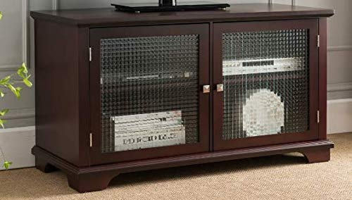 """Pilaster Designs 42"""" Walnut Wood Entertainment Center TV Console Stand with Frosted Glass Storage Cabinet Doors & Shelves"""