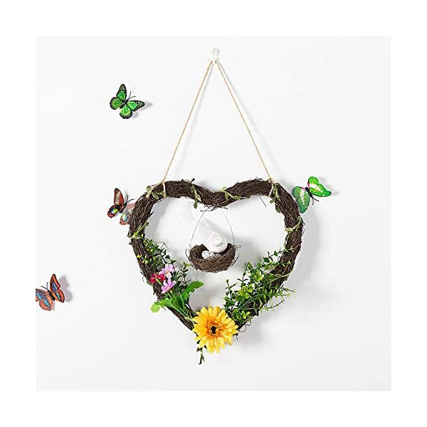 HDLWIS Floral Hoop Wreath, Fall Wreath for Front Door, Wreath for Front Door All Season, Plastic Flower and Heart Shaped Rattan Circle Ornament Wreath,2