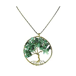 DEW Drops Simulated Green Aventurine Pendant Tree of Life Brass Long Necklace Gemstone Jewelry