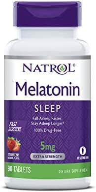 Natrol Melatonin Fast Dissolve Tablets, Strawberry Flavor, 5mg, 90 Count