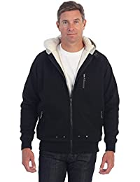 Men Heavyweight Sherpa Lined Fleece Hoodie Jacket