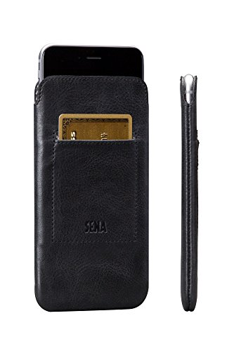 t, Leather thin sleeve with card pocket for the iPhone 8 Plus & 7 PLUS - Black (Sena Leather Iphone Cases)