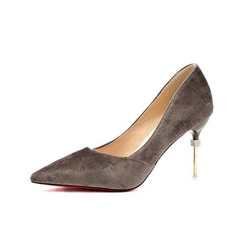 Yalanshop Mat fine Bouche avec une lampe de pointu Chaussures à talons hauts et polyvalente, Marron 36