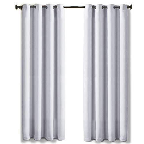 (TEKAMON 99% Blackout Curtains Thermal Insulated Grommet 2 Panels Set Draperies, Room Darkening Panels for Living Room, Bedroom, Nursery (W52 X L63 per Panel, Greyish White))